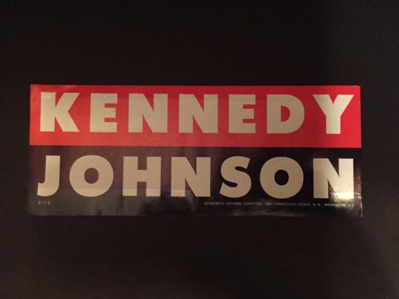 """1960 John F. Kennedy """"Un-Used"""" Window Decal"""