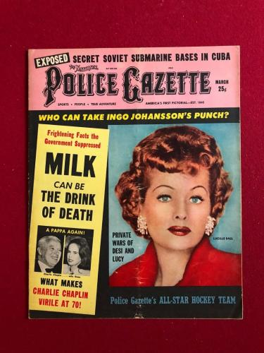 "1960, Lucille Ball, ""POLICE GAZETTE"" Oversize Magazine (Scarce) (I Love Lucy)"