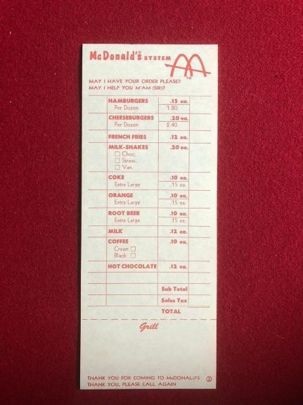 "1960's, McDonald's, ""Un-Used"" Order Sheet (Slash Logo) Scarce"