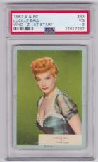 1961 A & Bc Lucille Ball Who-z-at Star? Card #63 Psa 3 Vg