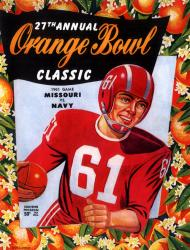 1961 Missouri Tigers vs Navy Midshipmen 22x30 Canvas Historic Football Poster