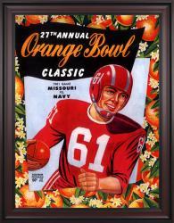 1961 Missouri Tigers vs Navy Midshipmen 36x48 Framed Canvas Historic Football Poster