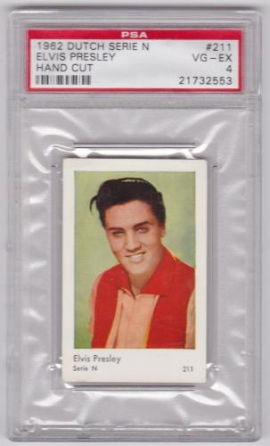 1962 Dutch Gum Card Elvis Presley Serie N Hand Cut Card #211 Psa 4 Vg/ex