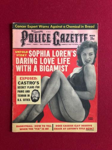 "1963, Fidel Castro (Sophia Loren) (Ali), ""Police Gazette"" Magazine (Scarce)"