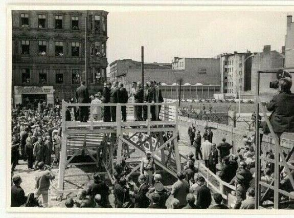 1963 President John F Kennedy Berlin Trip, Looking Over Berlin Wall, Wire Photo
