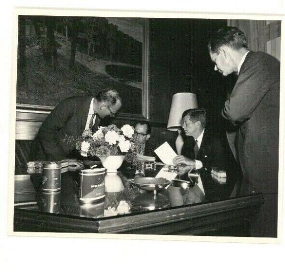 1963 President John F. Kennedy Berlin Trip, Meeting Around a Desk, Wire Photo