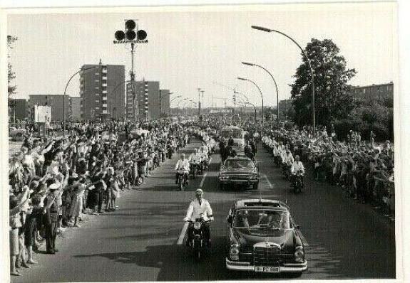 1963 President John F Kennedy Berlin Trip, Motorcade Through Streets Wire Photo