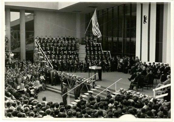 1963 President John F Kennedy Berlin Trip, Speaking at University,  Wire Photo