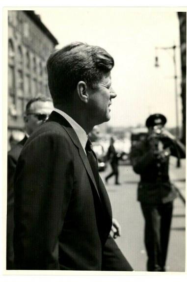 1963 President John F. Kennedy Berlin Trip, Street Close-Up,  Orig  Wire Photo