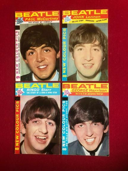 """1964, BEATLES, """"POP PICS"""" Magazine (Set of 4) (No Labels) Scarce / Vintage"""