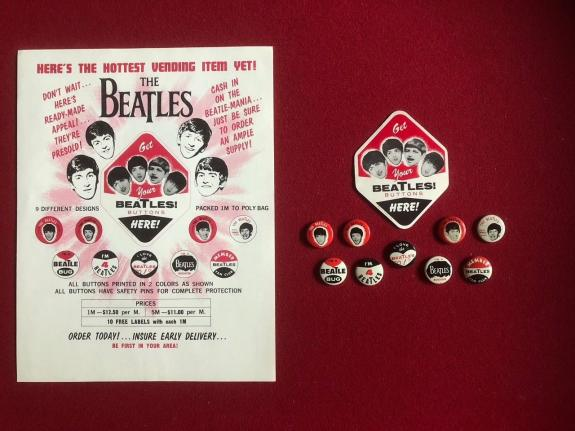 1964, Beatles, Set of (9) Vending Buttons w/ Label & Advertising Sheet (Rare)