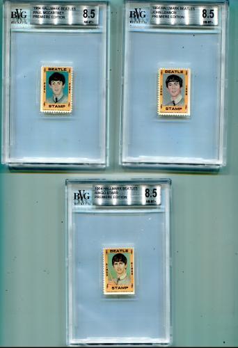 1964 Hallmark Beatles Beckett Graded Card Set Lot (5 Cards Graded 8.5 NM)