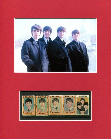 1964 Hallmark Original Rare The Beatles Color Stamp Set of 5 Rare Photo Display