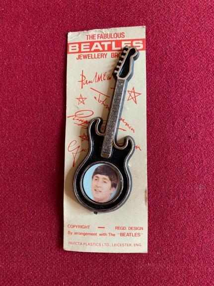 "1964, John Lennon (BEATLES) ""Brooch"" on Original Card (Scarce / Vintage)"