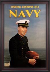 1964 Navy Midshipmen Staubach Program 36x48 Framed Canvas Historic Football Poster