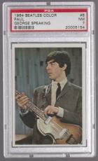 1964 The Beatles Color Paul Mccartney George Harrison Speaking Card #8 Psa 7 Nm