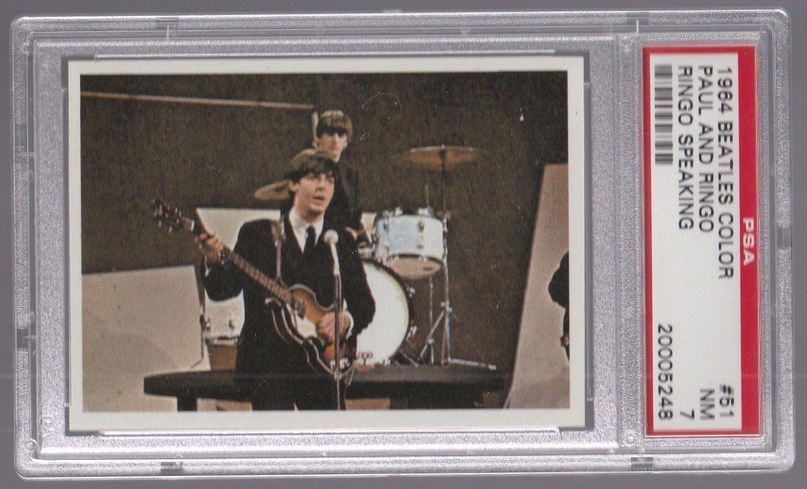 1964 The Beatles Color Paul Mccartney Ringo W Speaking Card 51 Psa 7 Nm
