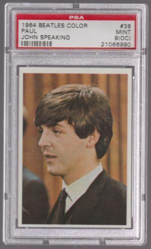 1964 The Beatles Color Paul Mccartney W/ John Speaking Card #38 Psa 9 (oc) Mint