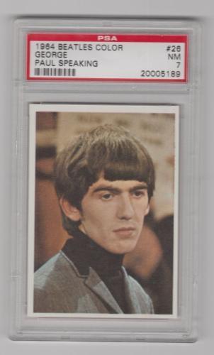 1964 The Beatles Color George W Paul Mccartney Speaking Card 26 Psa 7 Nm