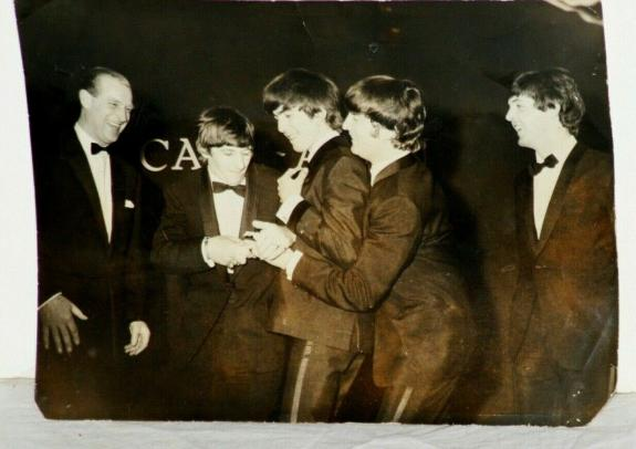 """1965 """"The Beatles"""" at Black Tie Affair, London News Service Stamped Image, 6 x 8"""