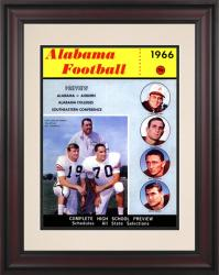 1966 Alabama Crimson Tide Bryant vs Shug 10 1/2 x 14 Framed Historic Football Poster - Mounted Memories