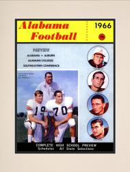 1966 Alabama Crimson Tide Bryant vs Shug 10 1/2 x 14 Matted Historic Football Poster