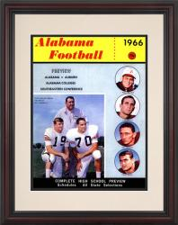 1966 Alabama Crimson Tide Bryant vs Shug 8.5'' x 11'' Framed Historic Football Poster