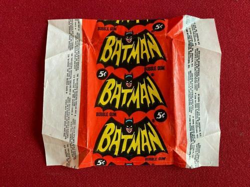 """1966, BATMAN, """"Topps"""" Trading Card Wrapper (Scarce / Vintage)  Zap!, Pow!"""