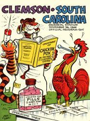 1966 Clemson Tigers vs South Carolina Gamecocks 22x30 Canvas Historic Football Poster