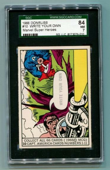 1966 Donruss Marvel Super Heroes #10 Captain America Write Your Own SGC 7 NM