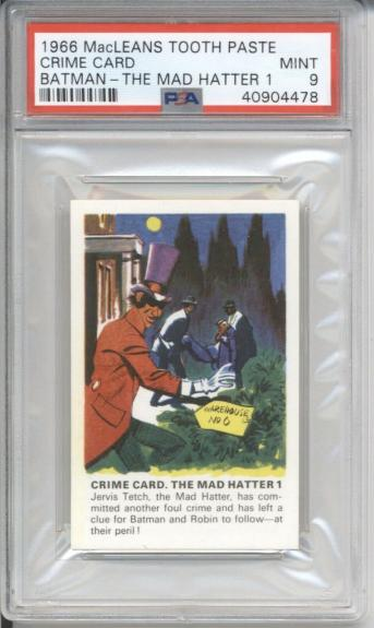 1966 MacLeans Tooth Paste CRIME CARD THE MAD HATTER 1 - BATMAN PSA 9 MINT