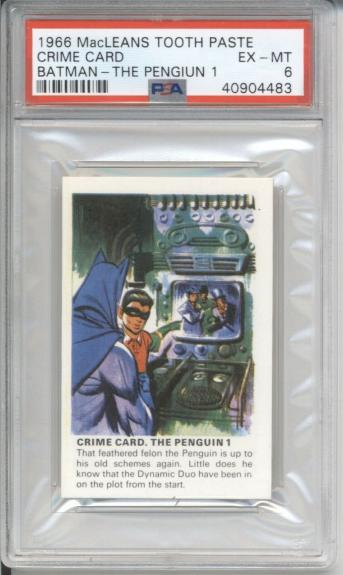 1966 MacLeans Tooth Paste CRIME CARD THE PENGUIN 1 - BATMAN PSA 6 EX-MT