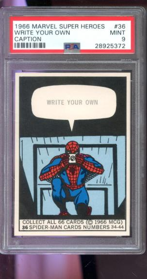 1966 Marvel Super Heroes MCG #36 Write Your Own Caption Spider-Man Card PSA 9