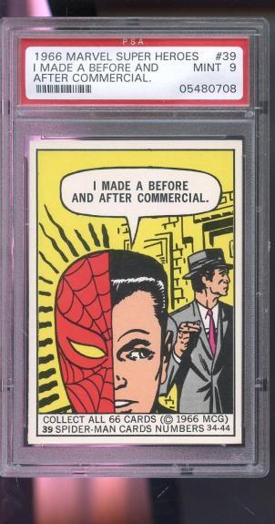 1966 Marvel Super Heroes MCG #39 Spider-Man Commercial SpiderMan Card PSA 9 MINT