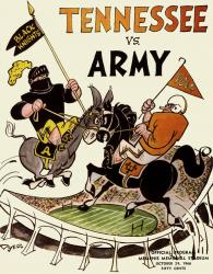 1966 Tennessee Volunteers vs Army Black Knights 22x30 Canvas Historic Football Poster
