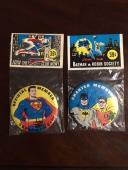 "1966, ""Un-Opened"" Pair, ""Batman Society Button"" & ""Superman Club Button""(Scarce)"
