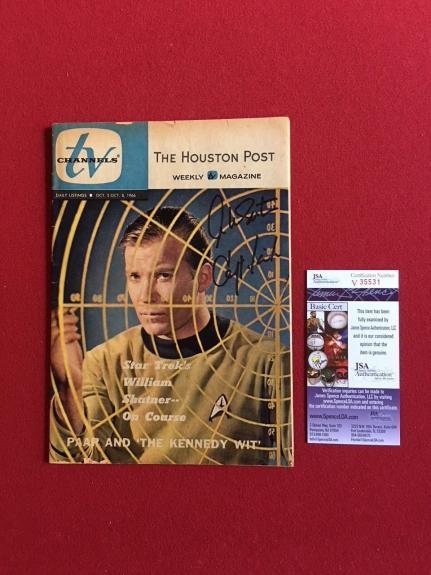 """1966, William Shatner (Capt. Kirk) Star Trek """"Autographed"""" (JSA) """"TV Channels"""