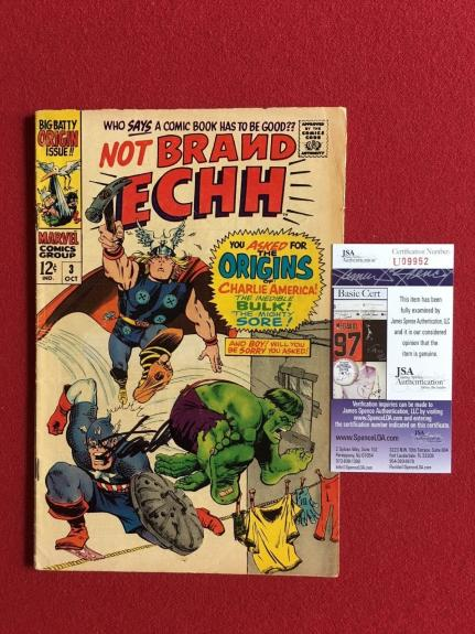 "1967, Stan Lee, ""Autographed"" (JSA), ""Not Brand ECHH"" #3 Comic Book (Scarce)"