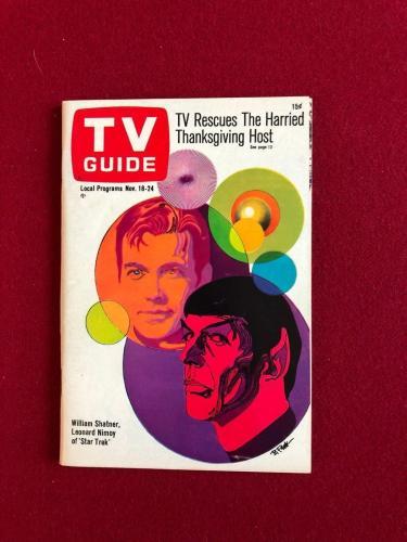 "1967, Star Trek, ""TV GUIDE"" (No Label) Scarce (Capt. Kirk / Spock)"