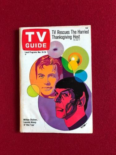 "1967, Star Trek, ""TV GUIDE"" (No Label) Scarce (Capt. Kirk / Spock)"