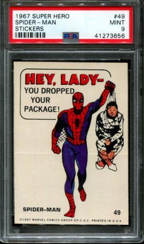 1967 Super Hero Stickers #49 Spider-man Pop 1 Psa 9 N2599584-656