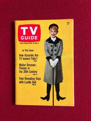 "1968, Lucille Ball ""TV Guide""  (No Label) Scarce  (I Love Lucy)"