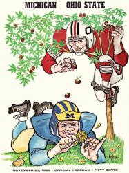 1968 Ohio State Buckeyes vs Michigan Wolverines 22x30 Canvas Historic Football Poster