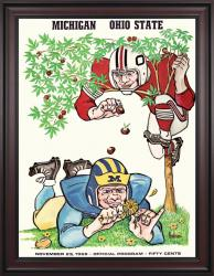 1968 Ohio State Buckeyes vs Michigan Wolverines 36x48 Framed Canvas Historic Football Poster