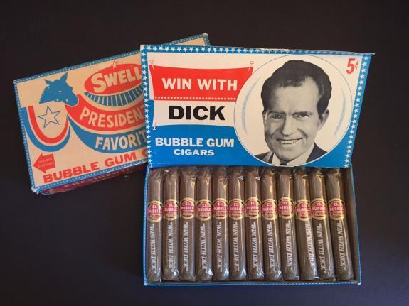 "1968, Richard Nixon, ""Un-Opened"" Swell Bubble Gum Cigars (Scarce / Vintage)"