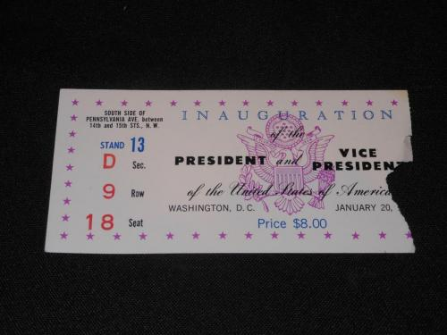 1969 Original Presidential Inauguration Ticket Stub Richard Nixon Spiro Agnew