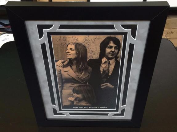 1969 Paul & Linda McCartney Signed Autographed Wedding Photo The Beatles JSA COA
