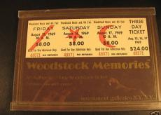 1969 Woodstock 3 Day Unused Full Ticket Mounted w COA