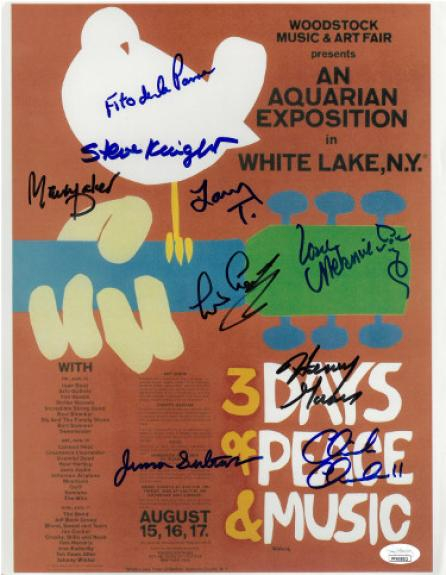 1969 WOODSTOCK Music Festival Signed 11x14 Poster Photo– 9 Sigs Chick Churchill/Leo Lyons/Steve Knight/Henry Gross–JSA #FF65002