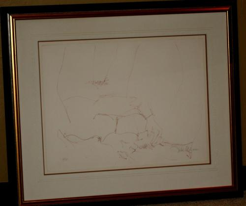 1970 John Lennon, Bag One Framed LE 223/300 Lithograph, Erotic 8, Signed, 30x23